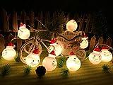 SILIVN クリスマスツリー 飾り スノーマン LED ライト 1.6m 電池式 可愛いミニ雪だるまオーナメント サンタさん LED ストリングライト クリスマス 正月 パーティー 防水 電飾 飾り 屋外 室内