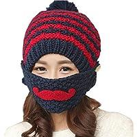 Elandy 1Set(2PCS) Women Grils Winter Warm Mouth Mask and Knitted Hat Cap- Moustache Pattern Earmuff Face Mouth Soft Knitting Woolen Cap