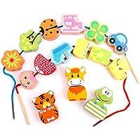 LIUFS-toys 子供用 啓発パズル ビーズ おもちゃ 赤ちゃん 早期学習 丸ビーズ (色:マルチカラー、サイズ:ビーズを明るくする)