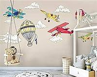 Mbwlkj カスタム北欧ミニマリスト手描き航空機熱気球子供部屋Backgroundwallpaper-300cmx210cm