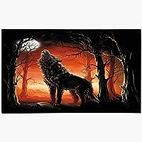 玄関マットドアマット18x30木月オオカミ動物野生動物狼男ファッション自然現代の森夜夕暮れおとぎ話シルエットマシン洗える非スリップマットバスルームキッチン装飾エリアラグ 60x40cm