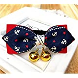 犬の猫ペットのちょう結びかわいい蝶のタイのベル調整可能な子犬の猫のネクタイ襟 (Cute, M)