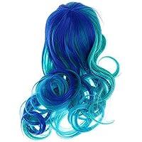 ノーブランド品 2セット 1/6 ブライスドール人形用 キュート 波状 巻き毛 ウィッグ 贈り物 2色選べ - ブルー