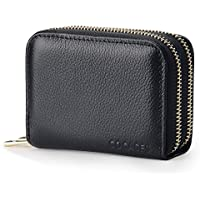 Women Credit Card Wallet, COCASES RFID Blocking Genuine Leather Double Zipper Purse