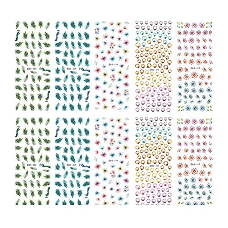 失効延ばす落ち着いてFrcolor ネイルシール 水彩風 3D ネイルステッカー 花 ネイルホイル デザイン ネイルアートシール 爪に貼るだけ マニキュア 10枚セット