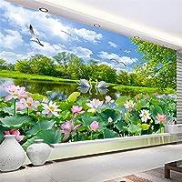 Mrlwy 中国スタイルの壁紙白鳥湖蓮池壁画リビングルームテレビソファ背景壁画-400X280cm
