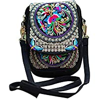 Women Rose Embroidered Crossbody Bags Mini - LITTLE TREE-AU Vintage Bags Fashion Embroidery One Shoulder Bags (Black)