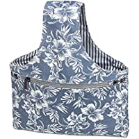 """Teamoy Knitting Tote Bag(L12.5''*W7""""), Travel Canvas Project Wrist Bag for knitting Needles(up to 11 Inches), Yarn and Crochet Supplies,Perfect Size for Knitting on The Go(Small, Blue Flowers)"""