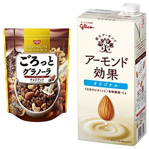 【セット買い】ごろっとグラノーラチョコナッツ400g 400gX6袋 + グリコ アーモンド効果 1000ml×6本 常温保存可能