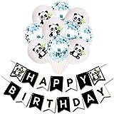 TOYMYTOY 風船セット飾り付け パンダのテーマ 誕生日 パーティー 風船キラキラ 紙吹雪風船 (青)