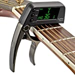 カポタスト チューナー ギターカポ ギターチューナー クリップ式チューナー カラーディスプレーチューナー アコースティックギター/バイオリン/ウクレレ/低音/エレキギター対応 - 明るい黒
