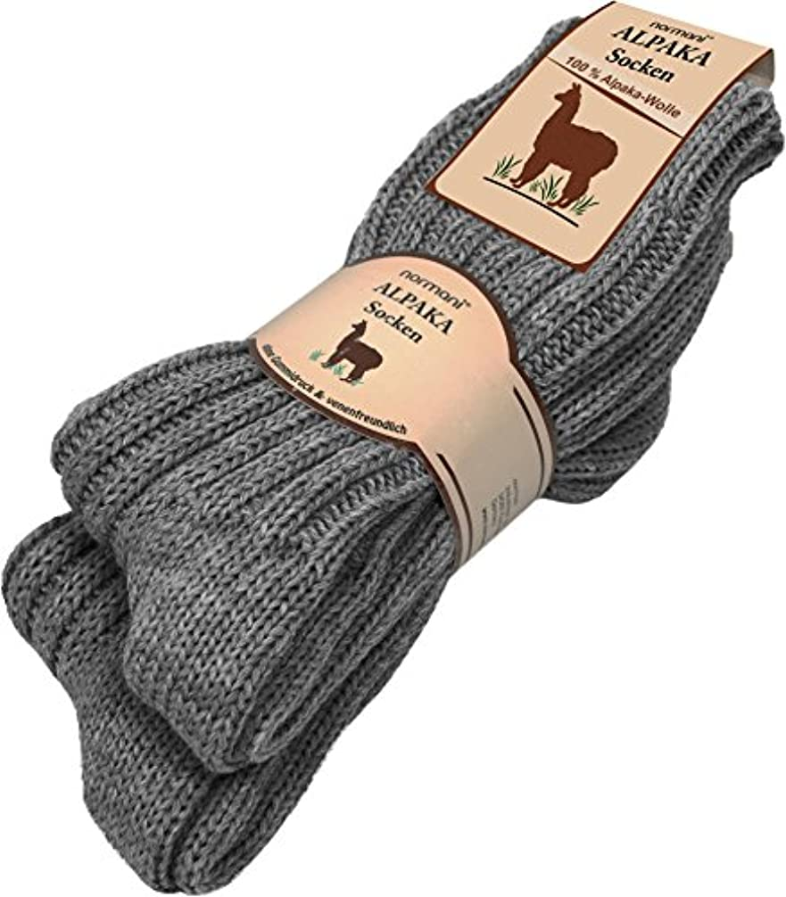 注目すべきあたたかい知っているに立ち寄る[ノルマニ]normani アルパカ混 ソックス 100% 天然繊維 アルパカ?ウール 2足組