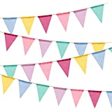 60 Flags Imitated Burlap Pennant Banner - Multicolor Fabric Triangle Flag Bunting for Party and Festival Hanging Decoration