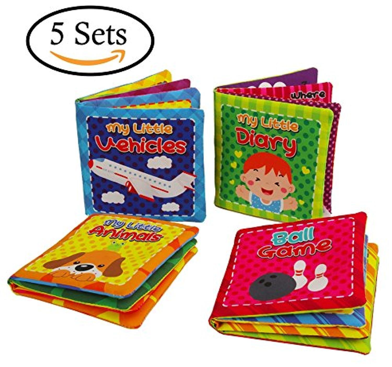 Quner 赤ちゃんの初めての非毒性ソフト布本 赤ちゃん用布本セット 子供の早期教育玩具 4本パック 5 sets マルチカラー QAQA-WF-W001-5