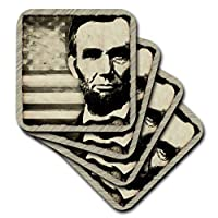 (set-of-4-Ceramic) - 3dRose cst_52683_3 Abraham Lincoln-President Abraham Lincoln with American Flag in Sepia Tone Colours-Ceramic Tile Coasters, Set of 4