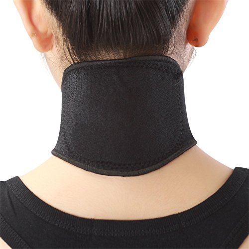 (kakuma)首コルセット 首サポーター トルマリン 磁石付き 首コリ 肩こり 首痛み 冷え 防止 頸椎ヘルニアの予防 マジック式 男女兼用 ブラック 45cmまでの首使用可 2セット