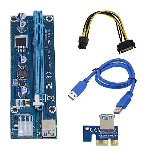 SODIAL Pci-Eライザー、Pci E Express 1X ~ 16Xライザーのカード、Usb 3.0 Pci-E Sata - 6ピンの電源ケーブル、BTC ビットコイン マイニング アントマイナー マイナー用