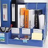 Mrs.L Store 卓上収納ラック 収納ボックス 本棚 新聞 雑誌 整理 整頓 多機能 (ブルー)