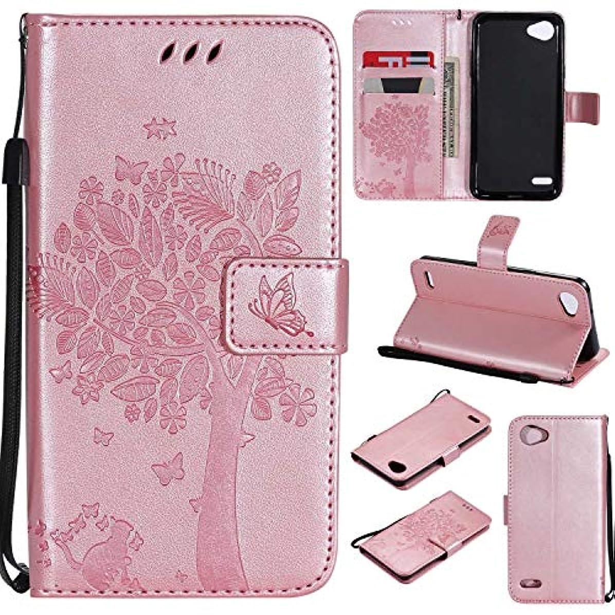 続編妨げる魅力的OMATENTI LG Q6 ケース 手帳型ケース ウォレット型 カード収納 ストラップ付き 高級感PUレザー 押し花木柄 落下防止 財布型 カバー LG Q6 用 Case Cover, ローズゴールド