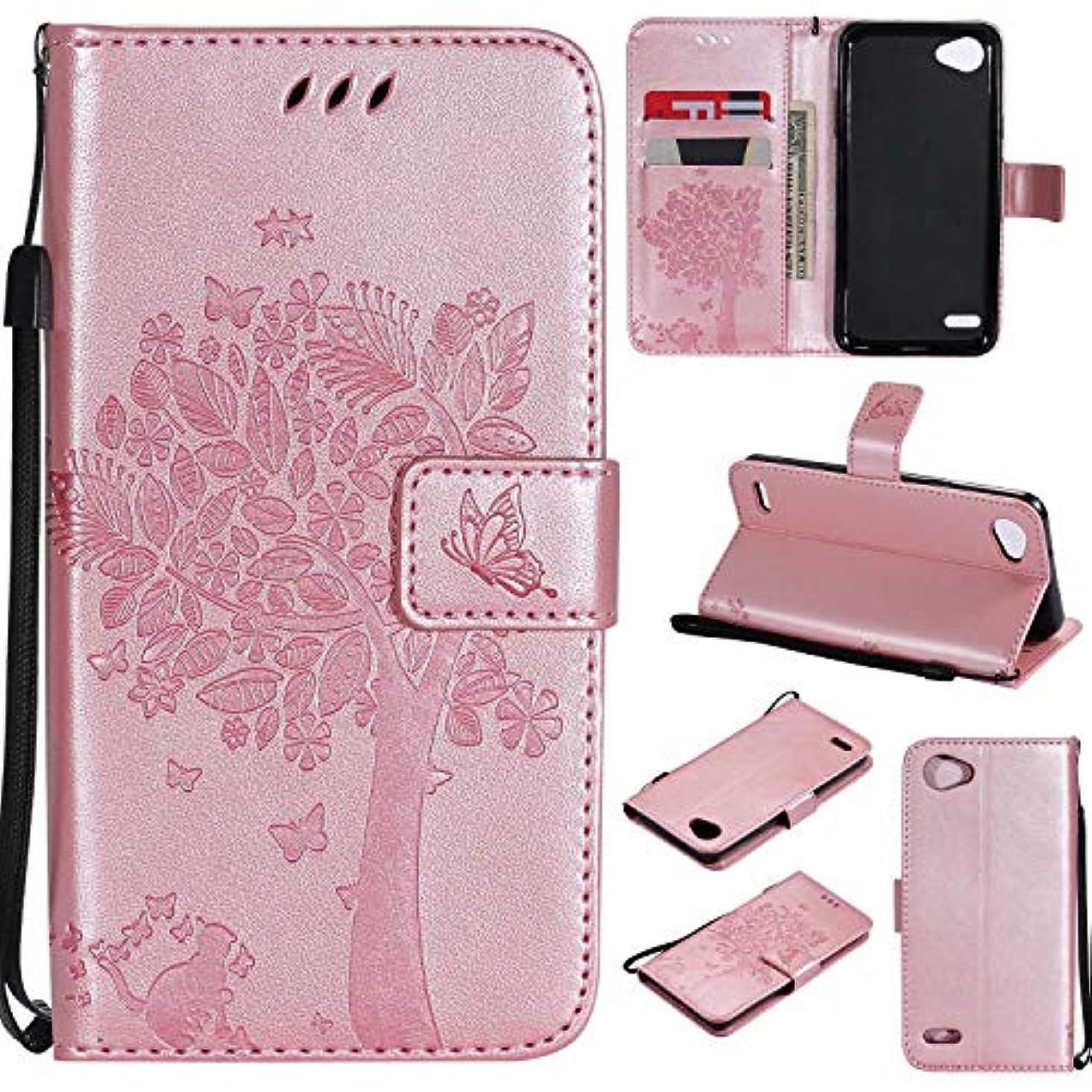 パブ槍誓約OMATENTI LG Q6 ケース 手帳型ケース ウォレット型 カード収納 ストラップ付き 高級感PUレザー 押し花木柄 落下防止 財布型 カバー LG Q6 用 Case Cover, ローズゴールド
