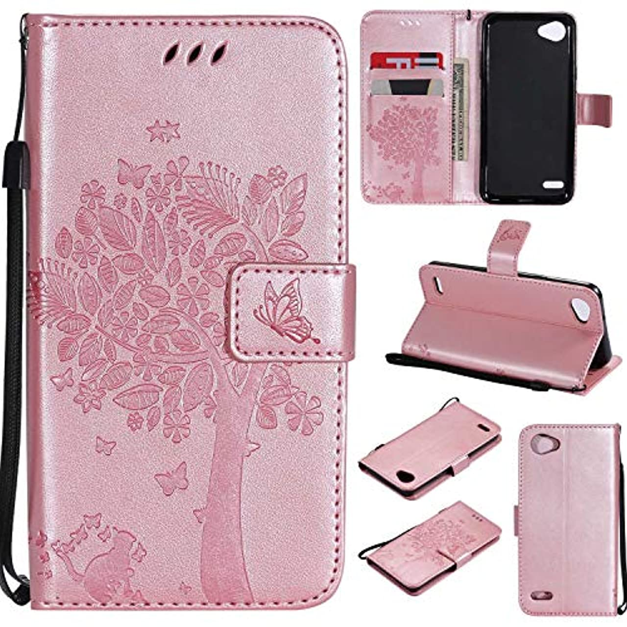蜜消化器バドミントンOMATENTI LG Q6 ケース 手帳型ケース ウォレット型 カード収納 ストラップ付き 高級感PUレザー 押し花木柄 落下防止 財布型 カバー LG Q6 用 Case Cover, ローズゴールド