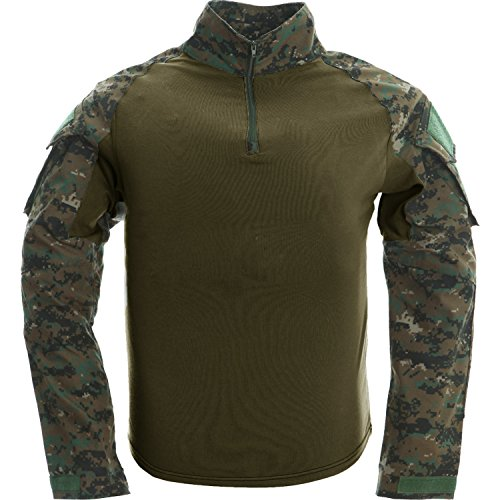 TACVASEN タクティカル シャツ 長袖 ミリタリー Tシャツ TDUシャツ メンズ アウトドア スポーツシャツ 自衛隊迷彩 サバゲー装備 耐久性 ジャングル M