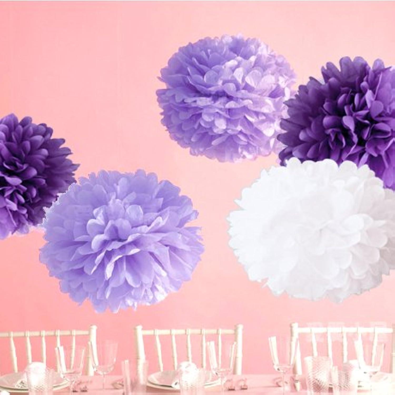 (ウエディングランド)WEDDINGLAND ペーパーポンポン ハニカムボール ペーパーフラワー バースデーパーティー 装飾 ウェディング 結婚式 アイテム 小物 インテリア お祝い パープル 5個セット