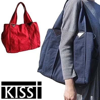 KISST [キスト]  マザーズバッグ キャンバスコットン レディース あおりポケット コットン &  本革 2WAY 大きめ A4 大容量 軽量 ママバッグ マザーバッグ kisst001 (RED)