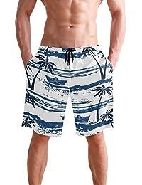 VAWA 水着 メンズ サーフパンツ おしゃれ ビーチパンツ 海水パンツ 短パン 吸汗速乾 大きいサイズ 水陸両用 縞柄 葉柄 熱帯風 ココシの木柄 帆船柄
