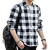チェックシャツ メンズ 長袖 ネルシャツ カジュアル 大きいサイズ シルエット フランネルシャツ (M, ブラック)