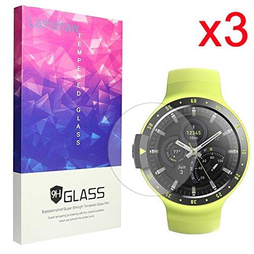 Lamshaw Ticwatch E 保護フィルム, 9H ガラスフィルム カバー 対応 Ticwatch E / Ticwatch S 腕時計 (3枚)