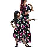 レディース ウエディングドレス ファミリドレス、kimloogフローラル母と娘半袖ロングマキシ服サンドレス L KM_0001