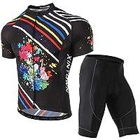 LSERVER 新発売 メンズ サイクルジャージ 上下セット 半袖シャツ 3D立体パッドパンツ 自転車ウェア 吸汗 速乾 通気 サイクリングウェア 春夏 ビブ選択可