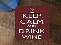 Keep Calm and Drinkワインシリコンドリンク飲み物コースター4パックby Debbieのデザイン