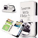 UNEXTATI iPhone 5 / iPhone 5s ケース 高品質 PUレザー 手帳型ケース 保護カバー カード収納 液晶保護 防塵 Apple iPhone5 / iPhone5s 用 Case Cover (P2 ホワイト)
