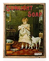 Sunlight Soap Metal Sign Framed on Rustic Wood: Soap, Laundry, and Bathroom Dテδゥcor Wall Accent by OMSC