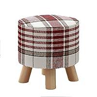 靴のベンチ/純木スツール、生地のソファーのベンチの茶テーブルスツールを変更して下さい(色:格子、30cm * 29cm) (Color : Red)