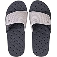Showaflops Mens' Antimicrobial Shower & Water Sandals for Pool, Beach, Dorm and Gym - Adjustable Colorblock Slide