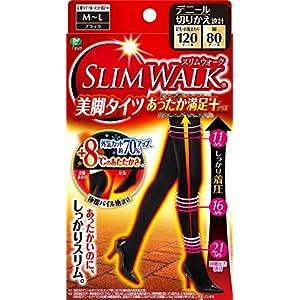 スリムウォーク 美脚タイツあったか満足プラス M-Lサイズ ブラック(SLIMWALK, compression Tights with warm processing, Black,ML) 着圧 タイツ