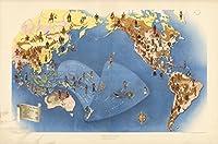 Historicマップ|世界のプレートI。Peoples。太平洋のミスコンテスト。1940| Historicアンティークヴィンテージマップ再印刷 24in x 36in 554753_2436