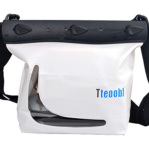 Mercs Tteoobl 防水バッグ 100% 完全防水 Mサイズ ショルダーバッグ 防水保護等級IPX8 海水浴 川遊び プール トラベル アウトドア 防災 必需品 (ホワイト)