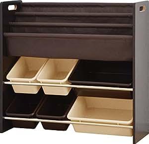 ottostyle.jp TOY BOX (トイボックス) 本棚付おもちゃ収納ラック(おもちゃ箱/おもちゃ収納ボックス/絵本棚)【ダークブラウン×ベージュ&ブラウンボックス】