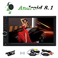 Android 8.1 Oreo System Car Stereo for Double Din 7 Inch Capacitive Touch Screen Quad Core 2G+16G Support WiFi OBD2 1080P Screen Mirror GPS Bluetooth Multiple Language Wallpaper with Rear View Camera