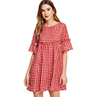 Floerns Women's Short Sleeve Tunics Fringe Trim Striped Dress