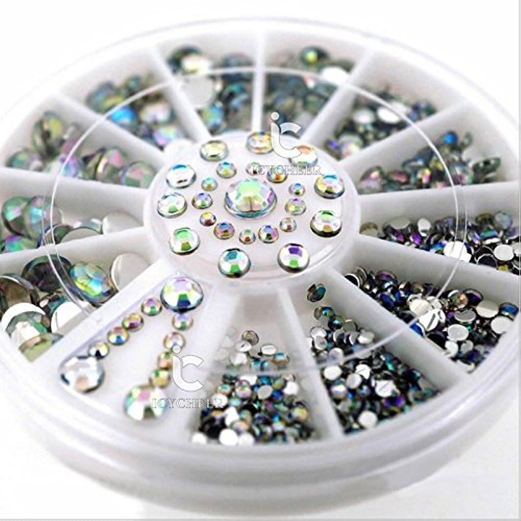 傾向があります電子鋸歯状ICYCHEERミックスサイズ3DネイルABラインストーンの宝石クリスタル3Dネイルアートデコレーションホイールマニキュア