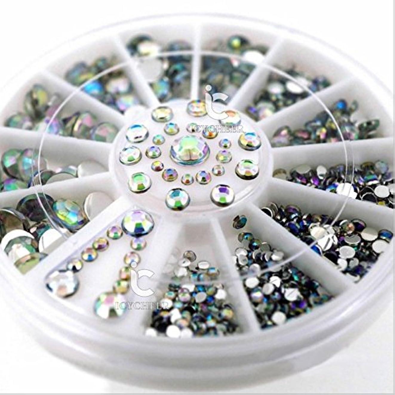 混合した患者真鍮ICYCHEERミックスサイズ3DネイルABラインストーンの宝石クリスタル3Dネイルアートデコレーションホイールマニキュア