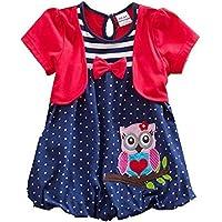 JUXINSU Toddler Girls Summer Dresses Short Sleeve Outfit Owl Embroidery Cartoon Pattern 2-7 Years