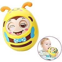 Roly - Poly赤ちゃんタンブラー人形おもちゃ、点滅目、組み込みMelodiousベル、3 to 6月幼児新生児Teether Baby Toys Nodding人形ノベルティ教育玩具 – 安全おしゃぶり材質 イエロー Feelava-078