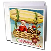 VintageChest – クリスマス – Clapsaddle – サンタクロースRiding on a Zeppelin – グリーティングカード Set of 6 Greeting Cards