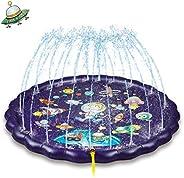 NextX 噴水マット 噴水プール 子供プール ビニールプール 水遊び おもちゃ 水しぶきマット 170CM直径プレイマット スプラッシュパッド 噴水池 暑さ対策 子供用 親子遊び 家庭用 庭/芝生遊び 誕生日プレゼント